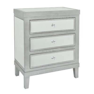 Jerez Wood and Mirror 3 Drawer Accent Chest