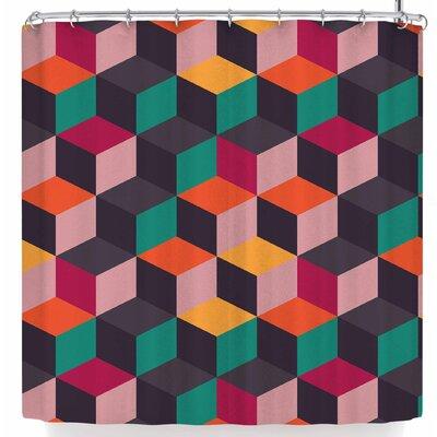 Bluelela Cube 004 Shower Curtain Color: Orange/Green