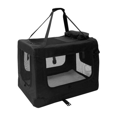 "Heavy Duty Collapsible Portable Home Spacious Traveler Pet Carrier Size: 19.5"" H x 26"" W x 19.5"" D, Color: Black"