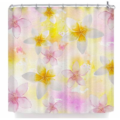 Sylvia Cook White Watercolor Plumerias Shower Curtain