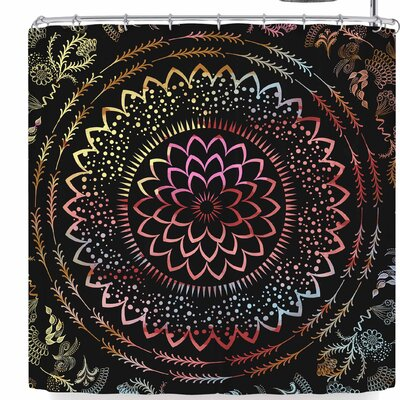 Famenxt Botanical Folk Vibes Mandala Shower Curtain Color: Black/Pink