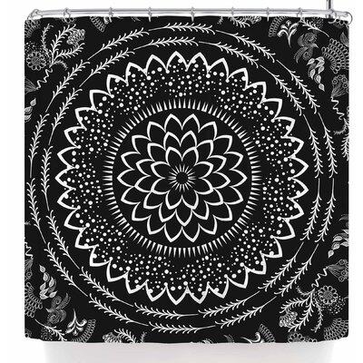 Famenxt Botanical Folk Vibes Mandala Shower Curtain Color: Black/White
