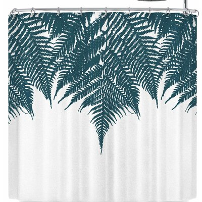 Project M Fern Shower Curtain Color: Dark Green/White