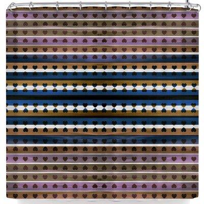 Ebi Emporium Hearts Together Shower Curtain Color: Purple/Blue