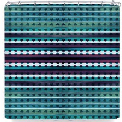 Ebi Emporium Hearts Together Shower Curtain Color: Teal Violet/Purple