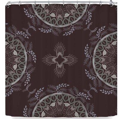 Famenxt Soft Pastel Color Mandala Shower Curtain Color: Brown