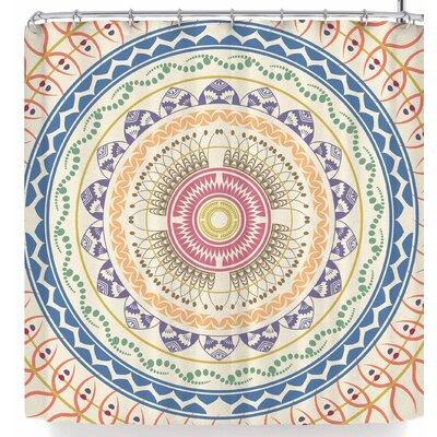 Famenxt Boho Mandala In Soft Colors Shower Curtain Color: Beige/Orange