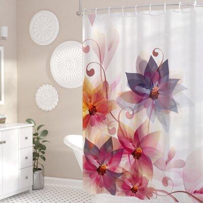 "Gould Flowers Burt and Leaf Shower Curtain Size: 69"" W x 70"" L"