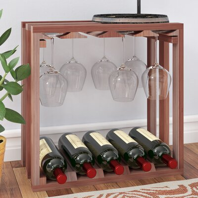 Karnes Redwood Lattice Stemware Cube 10 Bottle Tabletop Wine Rack Finish: Natural