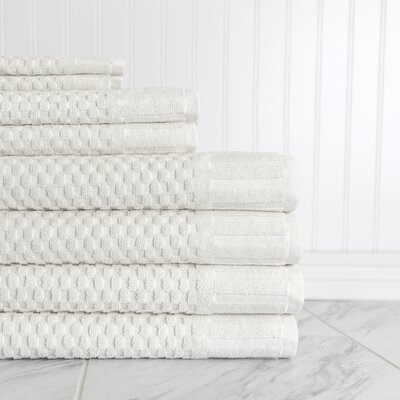 Luxe Textured 8 Piece 100% Cotton Towel Set Color: Ivory