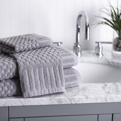 Luxe Textured 8 Piece 100% Cotton Towel Set Color: Gray