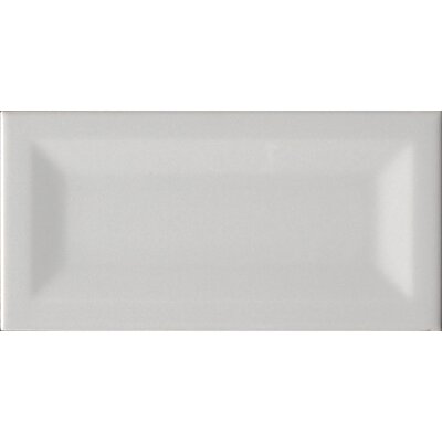 """Inverted 3"""" x 6"""" Beveled Ceramic Subway Tile in Glossy Gray"""
