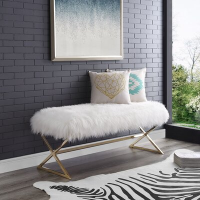 Evonne X-Leg Upholstered Bench Upholstery: White/Gold