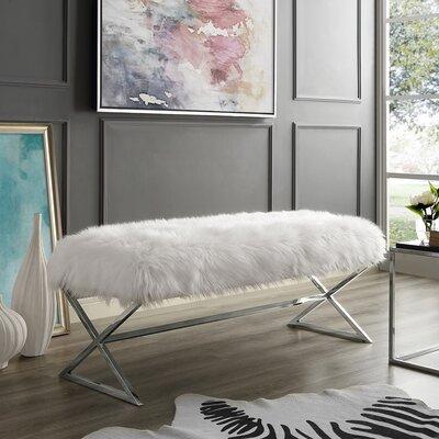 Evonne X-Leg Upholstered Bench Upholstery: White/Chrome