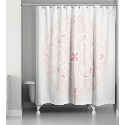Clayborn Circle Shower Curtain Color: Light Pink