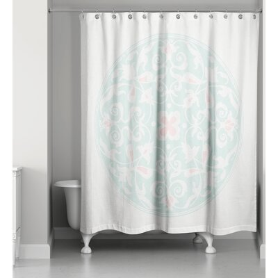 Clayborn Circle Shower Curtain Color: White