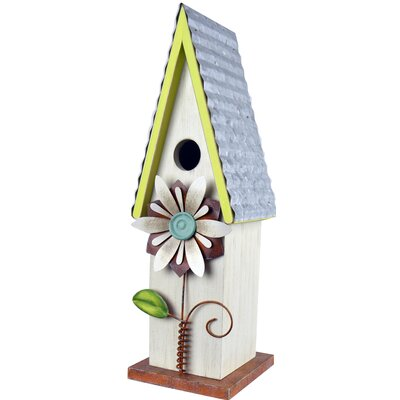 Metal Flower 5 in x 4.5 in x 10.5 in Birdhouse