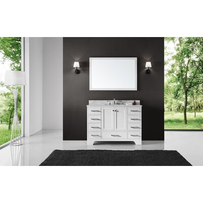 "Cassel 48"" Single Bathroom Vanity Set with Mirror Base Finish: White"