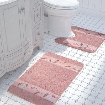 Levesque 2 Piece Bath Rug Set Color: Pink