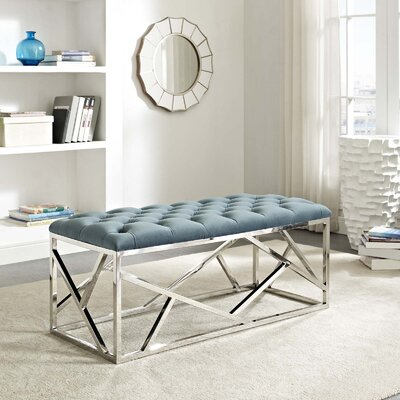 Colworth Metal and Metal Bench Upholstery: Sea Blue, Color: Silver