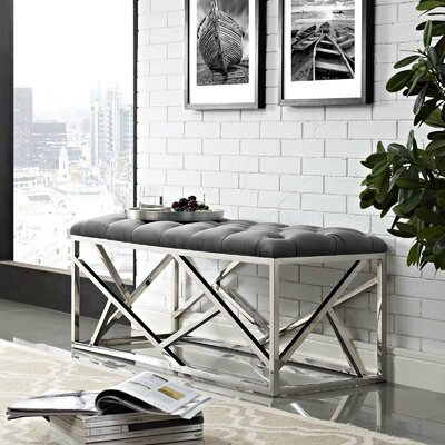 Colworth Metal and Metal Bench Upholstery: Gray, Color: Silver