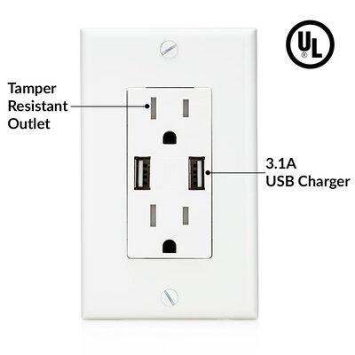 UL Listed 4.8A High Speed 4 USB USB Charger Wall Mounted Outlet