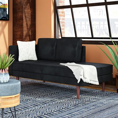 Zander Mid Century Modern Upholstered Daybed with Mattress Upholstery Color: Black