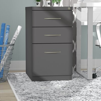 Kemmer Arch Pull 3 Drawer Mobile Vertical Filing Cabinet Finish: Charcoal Gray