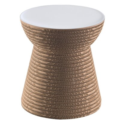 Hetrick Cork Accent Stool Color: Natural/White MDF