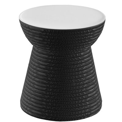 Hetrick Cork Accent Stool Color: Gray/White Leather Leather