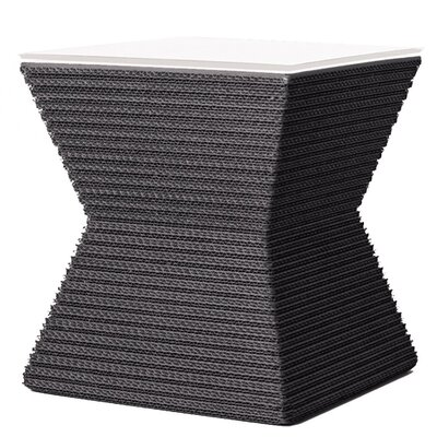 Hetzel Accent Stool Color: Gray/White Leather