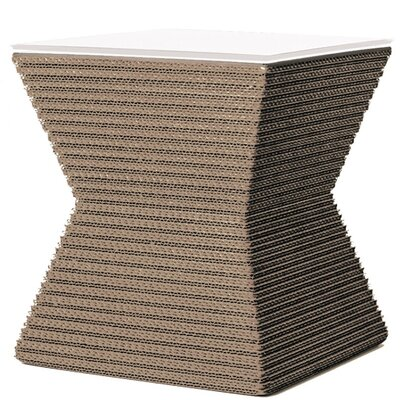 Hetzel Accent Stool Color: Natural/ White Leather