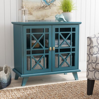 Matheus Fretwork 2 Door Accent Cabinet Color: Blue