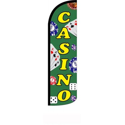"Casino Polyester 11'6"" x 2'6"" Swooper Flag"