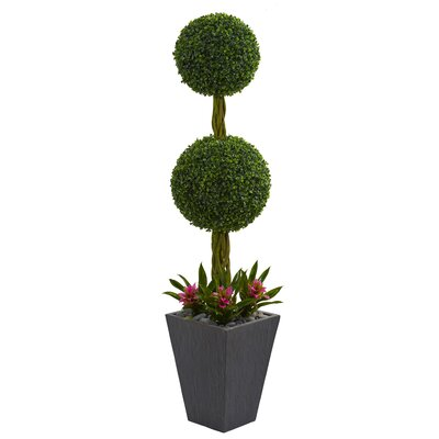 Double Ball Artificial Floor Boxwood Topiary in Planter