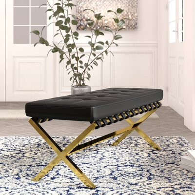 Jolie PU leather Tufted Bench Color: Black