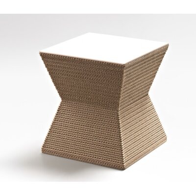 Hetzel Accent Stool Color: Natural/ White MDF
