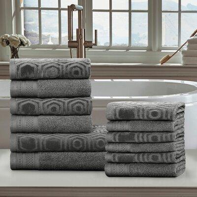 Honeycomb 12 Piece 100% Cotton Towel Set Color: Gunmetal