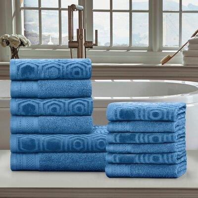 Honeycomb 12 Piece 100% Cotton Towel Set Color: Azure