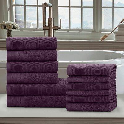 Honeycomb 12 Piece 100% Cotton Towel Set Color: Blackberry Wine
