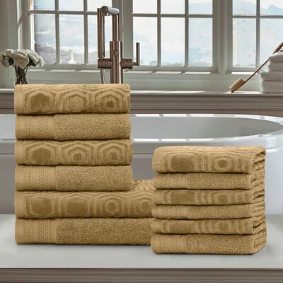 Honeycomb 12 Piece 100% Cotton Towel Set Color: Sahara