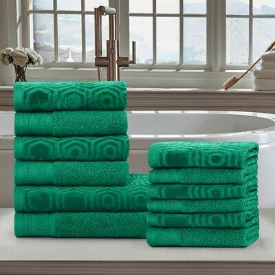 Honeycomb 12 Piece 100% Cotton Towel Set Color: Gumdrop Green