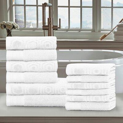 Honeycomb 12 Piece 100% Cotton Towel Set Color: White