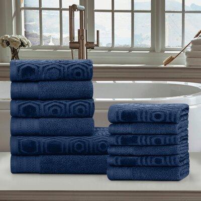 Honeycomb 12 Piece 100% Cotton Towel Set Color: Navy Peony