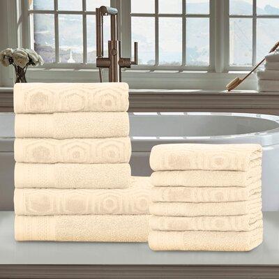Honeycomb 12 Piece 100% Cotton Towel Set Color: Ivory