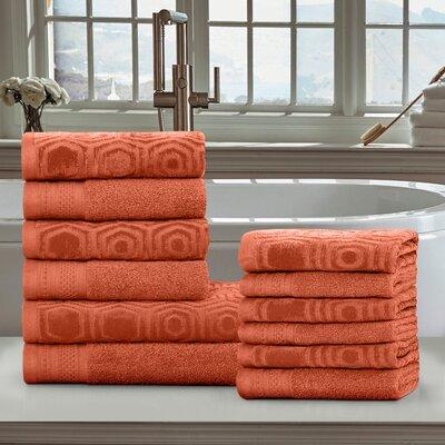 Honeycomb 12 Piece 100% Cotton Towel Set Color: Chestnut