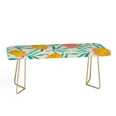 83 Oranges Floral Blush Upholstered Bench