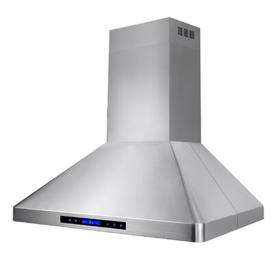 "36"" 471 CFM Ducted Island Range Hood Stainless Steel with Remote & Touch Control"