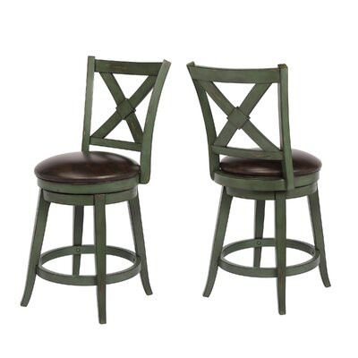 "Hassell 24"" Swivel Bar Stool Frame Color: Green"