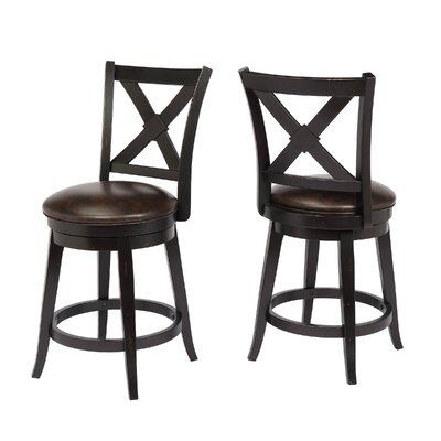 "Hassell 24"" Swivel Bar Stool Frame Color: Black"